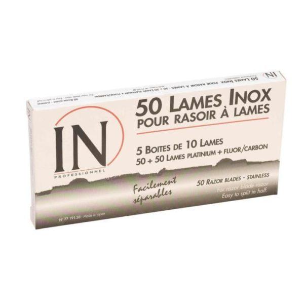 50 LAMES INOX POUR RASOIR IN PROFESSIONNEL - Facilement séparables